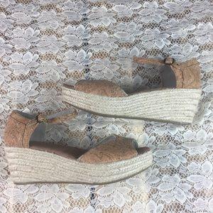 Toms Cork Ankle Strap Espadrille Flatform Sandals